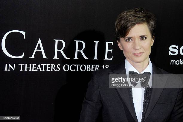 Director Kimberly Peirce arrives at the Los Angeles premiere of 'Carrie' at ArcLight Hollywood on October 7 2013 in Hollywood California