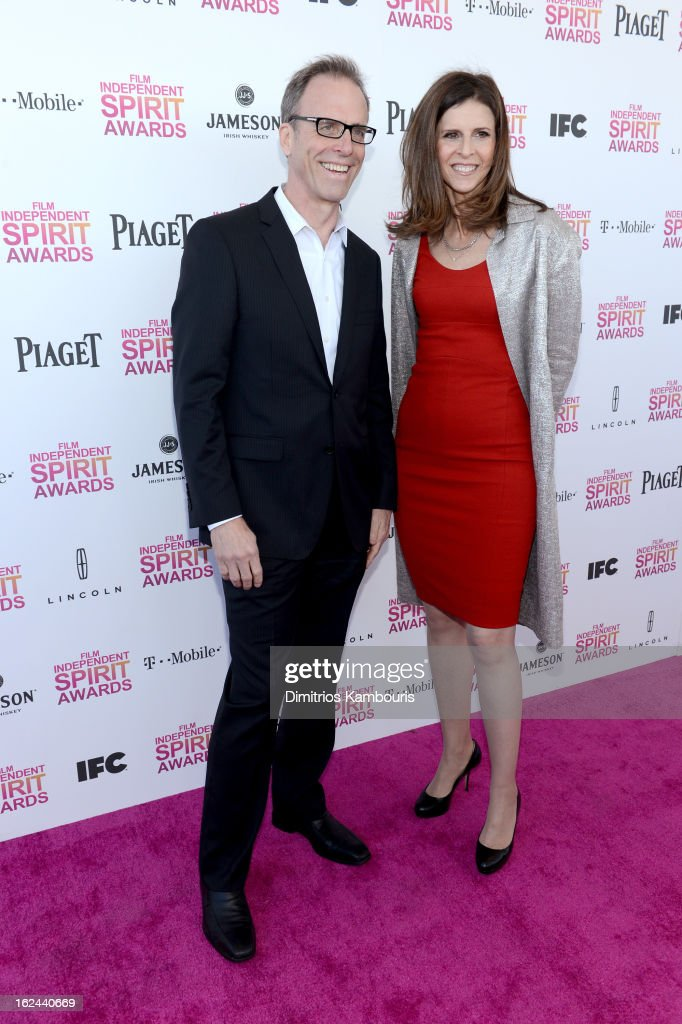 Director Kirby Dick and producer Amy Ziering arrive with Jameson prior to the 2013 Film Independent Spirit Awards at Santa Monica Beach on February...