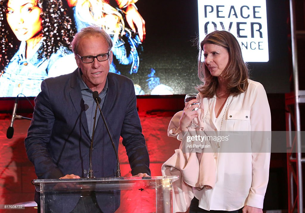 Director Kirby Dick and producer Amy Ziering speak on stage at the GUESS Foundation and Peace Over Violence Denim Day Cocktail Event at at MOCA Grand...