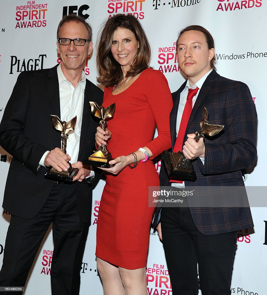 Director Kirby Dick and producers Amy Ziering and Tanner King Barklow attend the 2013 Film Independent Spirit Awards After Party hosted by Microsoft Windows Phone at The Bungalow at The Fairmont Hotel on February 23, 2013 in Santa Monica, California.