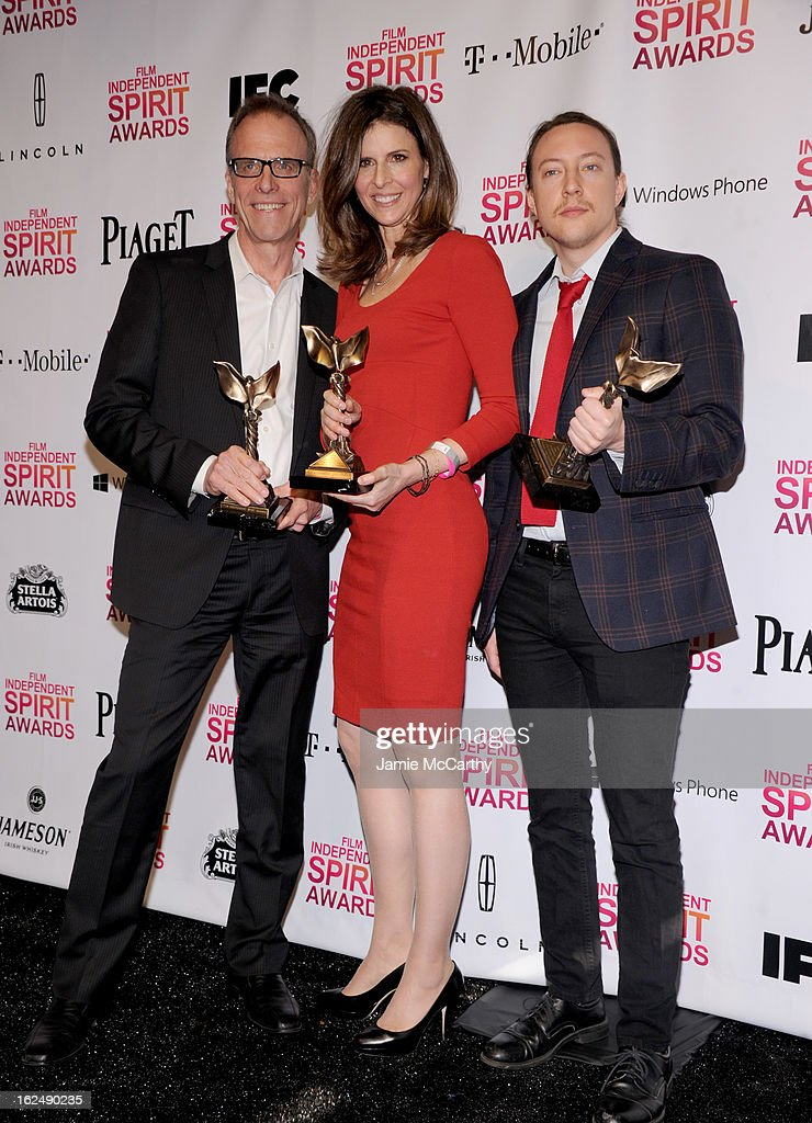 Director Kirby Dick and producers Amy Ziering and Tanner King Barklow attend the 2013 Film Independent Spirit Awards After Party hosted by Microsoft...