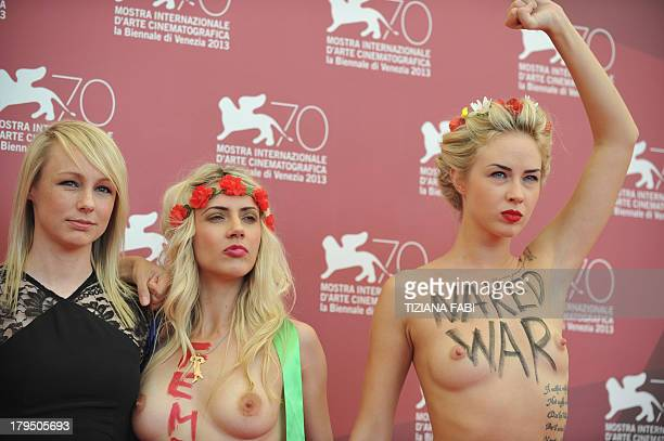 Director Kitty Green poses with Femen activist Sasha Shevchenko during the photocall of 'Ukraine is not a Brothel' presented out of competition at...