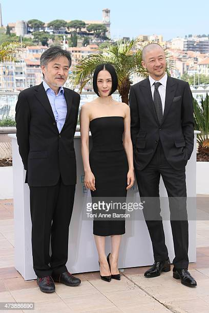 Director Kiyoshi Kurosawa and actors Eri Fukatsu and Tadanobu Asano attend the 'Kishibe No Tabi' photocall during the 68th annual Cannes Film...