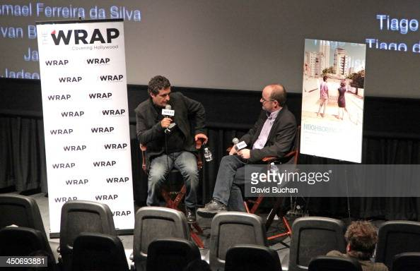 Director Kleber Mendonca and Moderator Steve Pond attend TheWrap's Awards Foreign Screening Series 'Neighboring Sounds' at the Landmark Theater on...