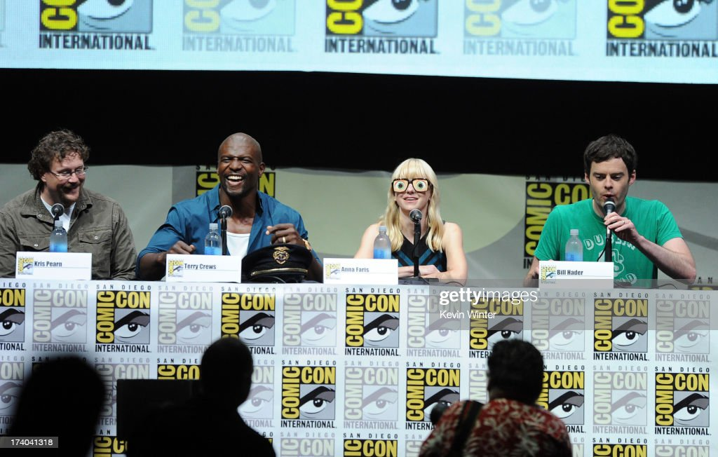 Director Kris Pearn, actor Terry Crews, actress Anna Faris and actor Bill Hader speak onstage at the Sony and Screen Gems panel for 'Cloudy With A Chance Of Meatballs 2' during Comic-Con International 2013 at San Diego Convention Center on July 19, 2013 in San Diego, California.