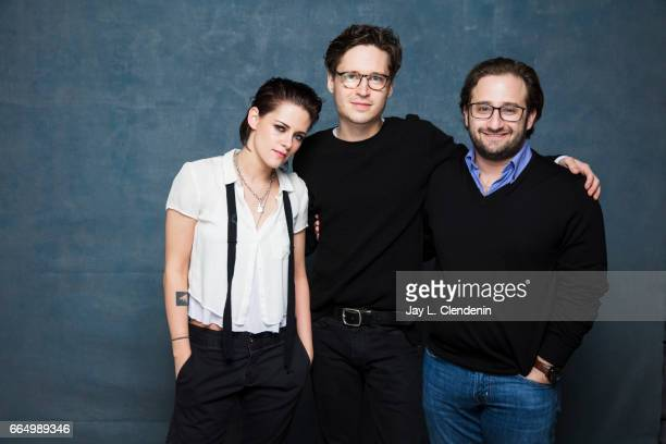 Director Kristen Stewart actor Josh Kaye and producer David Shapiro from the film 'Come Swim' are photographed at the 2017 Sundance Film Festival for...