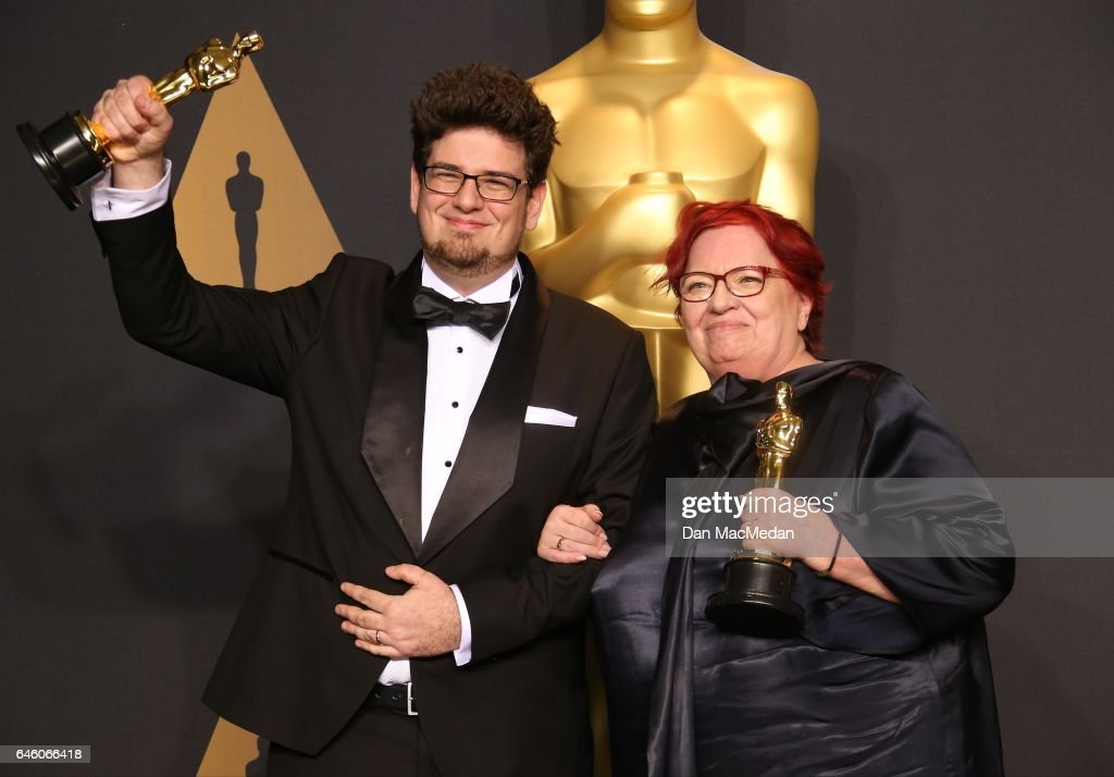 Director Kristof Deak and producer Anna Udvardy, winners of Best Live Action Short Film for 'Sing' pose in the press room at the 89th Annual Academy Awards at Hollywood & Highland Center on February 26, 2017 in Hollywood, California.