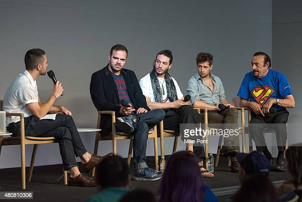 Director Kyle Patrick Alvarez actors Ezra Miller and Michael Angarano and Dr Philip Zimbardo attend the Apple Store Soho Meet the Filmmaker 'The...