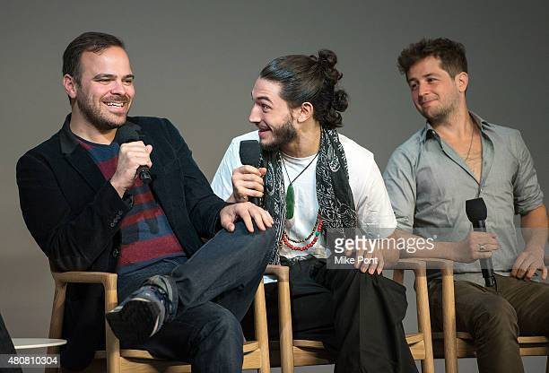 Director Kyle Patrick Alvarez and actors Ezra Miller and Michael Angarano attend the Apple Store Soho Meet the Filmmaker 'The Stanford Prison...