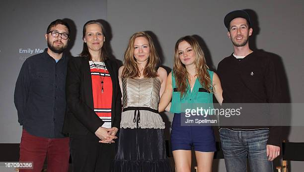 Director Lance Edmands actors Amy Morton Louisa Krause Emily Meade and producer Kyle Martin attend Meet the Filmmaker 'Bluebird' during the 2013...