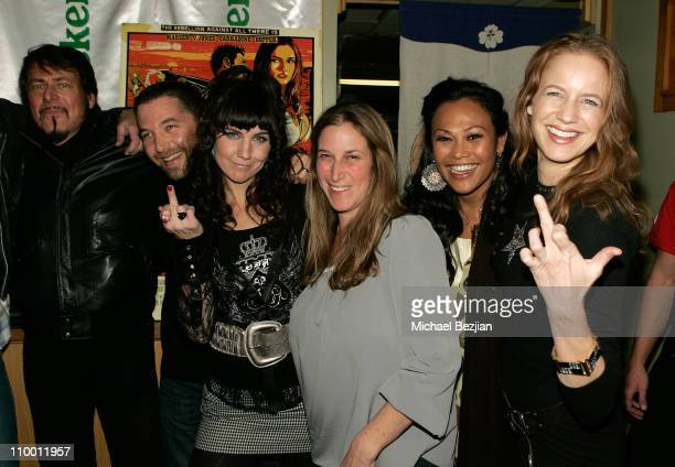 Director Larry Bishop actors David Grieco Andrea Fellers Cassandra Hepburn and Laura Cayouette attend the Hell Ride party at The Heineken Green Room...