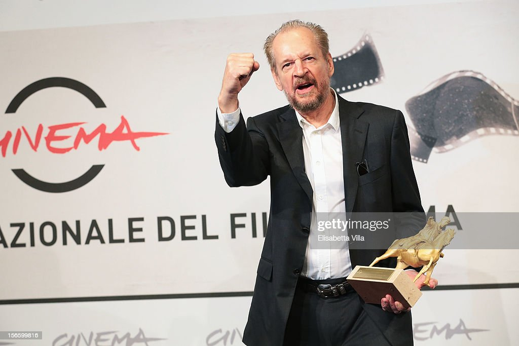 Director <a gi-track='captionPersonalityLinkClicked' href=/galleries/search?phrase=Larry+Clark&family=editorial&specificpeople=2234055 ng-click='$event.stopPropagation()'>Larry Clark</a> poses with his Golden Marc'Aurelio for Best Film druing the Award Winners Photocall during the 7th Rome Film Festival at Auditorium Parco Della Musica on November 17, 2012 in Rome, Italy.