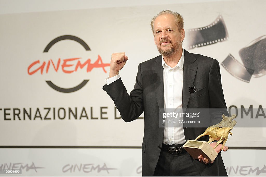 Director <a gi-track='captionPersonalityLinkClicked' href=/galleries/search?phrase=Larry+Clark&family=editorial&specificpeople=2234055 ng-click='$event.stopPropagation()'>Larry Clark</a> poses with his Golden Marc'Aurelio for Best Film druing the Award Winners Photocall on November 17, 2012 in Rome, Italy.