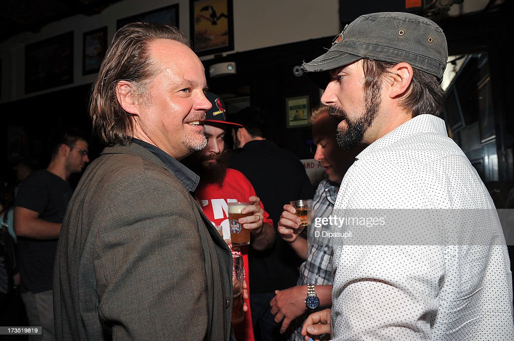 Director Larry Fessenden (L) attends the Glass Eye Pix 'Beneath' Premiere Event - After Party at Oliver's City Tavern on July 15, 2013 in New York City.