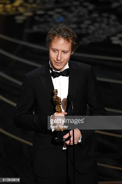 Director Laszlo Nemes accepts the Best Foreign Language Film award for 'Son of Saul' onstage during the 88th Annual Academy Awards at the Dolby...
