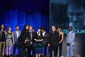 Director Laura Poitras journalist Glenn Greenwald producer Mathilde Bonnefoy and crew accept Best Documentary for 'Citizenfour' from actors Carmen...