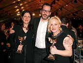 Director Laura Poitras with her award for best documentary for 'Citizenfour' artist Eric White and actress Patricia Arquette with the Best Supporting...