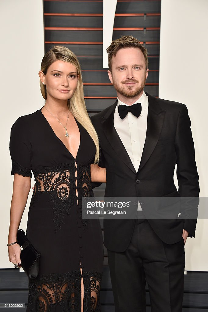Director Lauren Parsekian (L) and actor Aaron Paul attend the 2016 Vanity Fair Oscar Party Hosted By Graydon Carter at the Wallis Annenberg Center for the Performing Arts on February 28, 2016 in Beverly Hills, California.