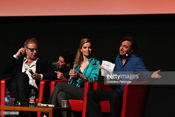 Director Leander Haussmann actress Thekla Reuten and actor Michael Herbig attend the 'Hotel Lux' press conference during the 6th International Rome...