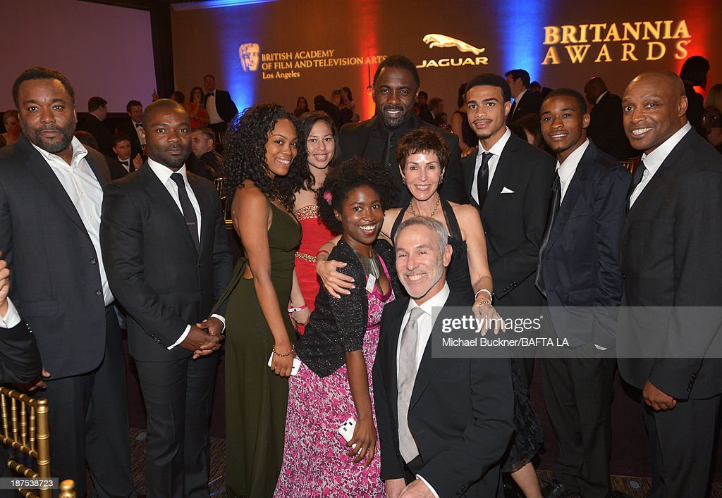 Director <a gi-track='captionPersonalityLinkClicked' href=/galleries/search?phrase=Lee+Daniels&family=editorial&specificpeople=209078 ng-click='$event.stopPropagation()'>Lee Daniels</a> (far L), actor <a gi-track='captionPersonalityLinkClicked' href=/galleries/search?phrase=David+Oyelowo&family=editorial&specificpeople=633075 ng-click='$event.stopPropagation()'>David Oyelowo</a> (2nd L), actor <a gi-track='captionPersonalityLinkClicked' href=/galleries/search?phrase=Idris+Elba&family=editorial&specificpeople=215443 ng-click='$event.stopPropagation()'>Idris Elba</a> (top C) and guests attend the 2013 BAFTA LA Jaguar Britannia Awards presented by BBC America at The Beverly Hilton Hotel on November 9, 2013 in Beverly Hills, California.