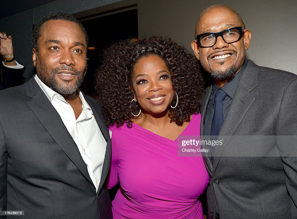 Director <a gi-track='captionPersonalityLinkClicked' href=/galleries/search?phrase=Lee+Daniels&family=editorial&specificpeople=209078 ng-click='$event.stopPropagation()'>Lee Daniels</a>, actors <a gi-track='captionPersonalityLinkClicked' href=/galleries/search?phrase=Oprah+Winfrey&family=editorial&specificpeople=171750 ng-click='$event.stopPropagation()'>Oprah Winfrey</a>, and <a gi-track='captionPersonalityLinkClicked' href=/galleries/search?phrase=Forest+Whitaker&family=editorial&specificpeople=226590 ng-click='$event.stopPropagation()'>Forest Whitaker</a> attend the after party for LEE DANIELS' THE BUTLER Los Angeles premiere, hosted by TWC, Budweiser and FIJI Water, Purity Vodka and Stack Wines, held at the Ritz-Carlton on August 12, 2013 in Los Angeles, California.