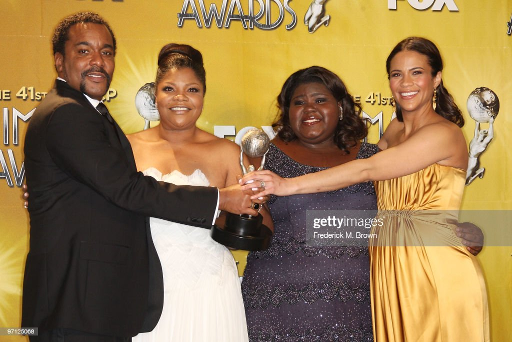 Director <a gi-track='captionPersonalityLinkClicked' href=/galleries/search?phrase=Lee+Daniels&family=editorial&specificpeople=209078 ng-click='$event.stopPropagation()'>Lee Daniels</a>, actresses <a gi-track='captionPersonalityLinkClicked' href=/galleries/search?phrase=Mo%27Nique&family=editorial&specificpeople=213364 ng-click='$event.stopPropagation()'>Mo'Nique</a>, <a gi-track='captionPersonalityLinkClicked' href=/galleries/search?phrase=Gabourey+Sidibe&family=editorial&specificpeople=5667783 ng-click='$event.stopPropagation()'>Gabourey Sidibe</a>, and <a gi-track='captionPersonalityLinkClicked' href=/galleries/search?phrase=Paula+Patton&family=editorial&specificpeople=752812 ng-click='$event.stopPropagation()'>Paula Patton</a> pose in the press room with the award for Outstanding Motion Picture for 'Precious: Based on the Novel 'Push' by Sapphire' (Lionsgate) during the 41st NAACP Image awards held at The Shrine Auditorium on February 26, 2010 in Los Angeles, California.