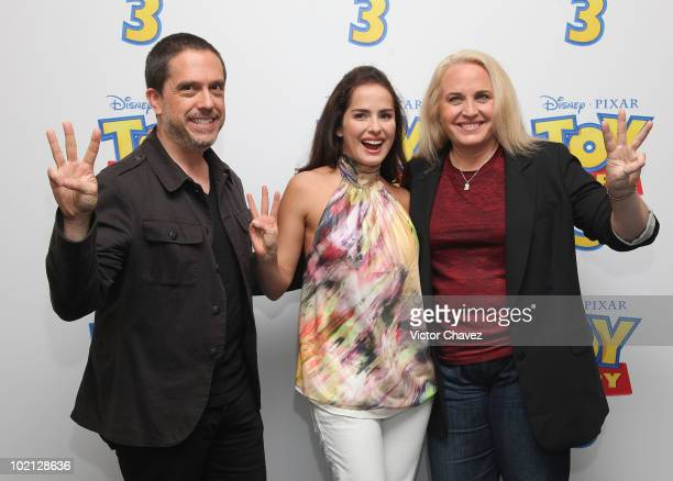 Director Lee Unkrich producer Darla K Anderson and colombian actress Danna Garcia attends the 'Toy Story 3' photo call>> at the Four Seasons Hotel on...