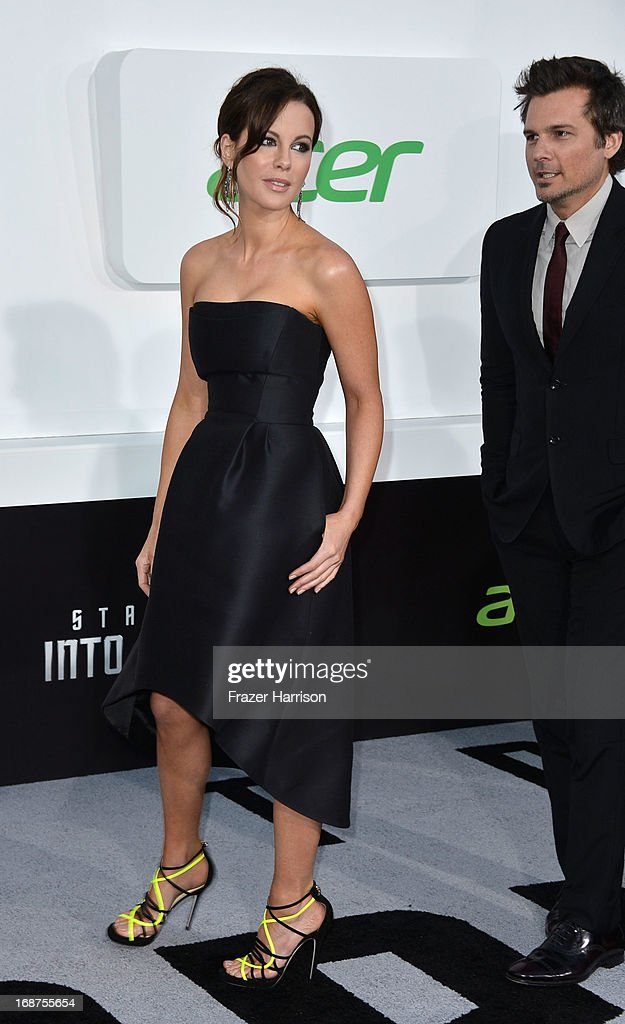 Director Len Wiseman (L) and actress Kate Beckinsale arrive at the premiere of Paramount Pictures' 'Star Trek Into Darkness' at the Dolby Theatre on May 14, 2013 in Hollywood, California.