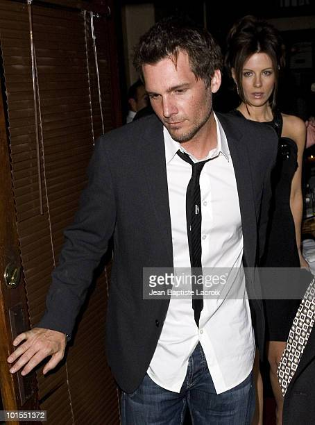 Director Len Wiseman and actress Kate Beckinsale leave Via Veneto restaurant in Santa Monica on April 20 2008 in California