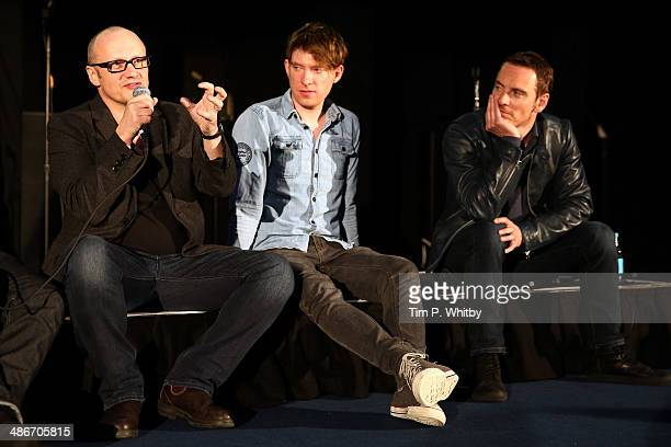 Director Lenny Abrahamson and actors Domhnall Gleeson and Michael Fassbender attend the 'Frank' screening during the Sundance London Film and Music...
