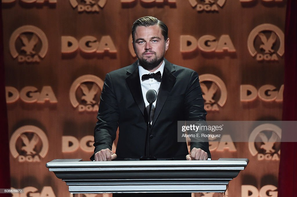 Director Leonardo DiCaprio speaks onstage at the 68th Annual Directors Guild Of America Awards at the Hyatt Regency Century Plaza on February 6 2016...