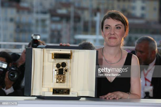 Director Leonor Serraille winner of the Camera d'Or for best first film for 'Jeune femme' attends the winners photocall during the 70th annual Cannes...