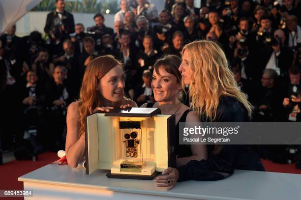 Director Leonor Serraille winner of the Camera d'Or for the movie 'Jeune Femme' poses with President of the Camera d'Or jury Sandrine Kiberlain and...