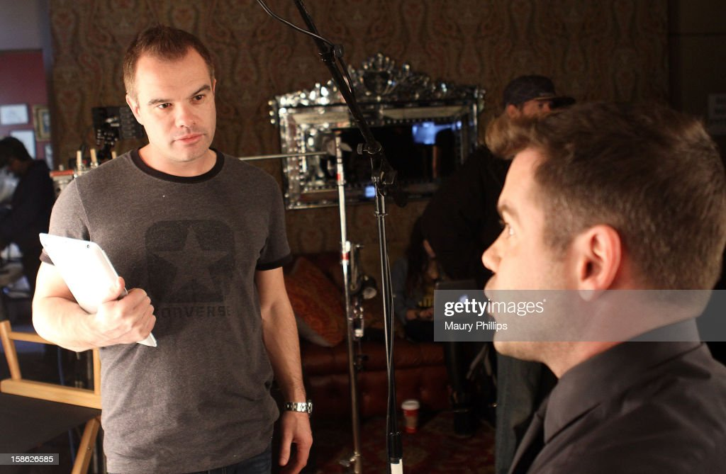 Director Lester Perkins and hair stylist Charles Baker Strahan on set during Behind The Beauty Documentary - Day 4 at The Redbury Hotel on December 21, 2012 in Hollywood, California.