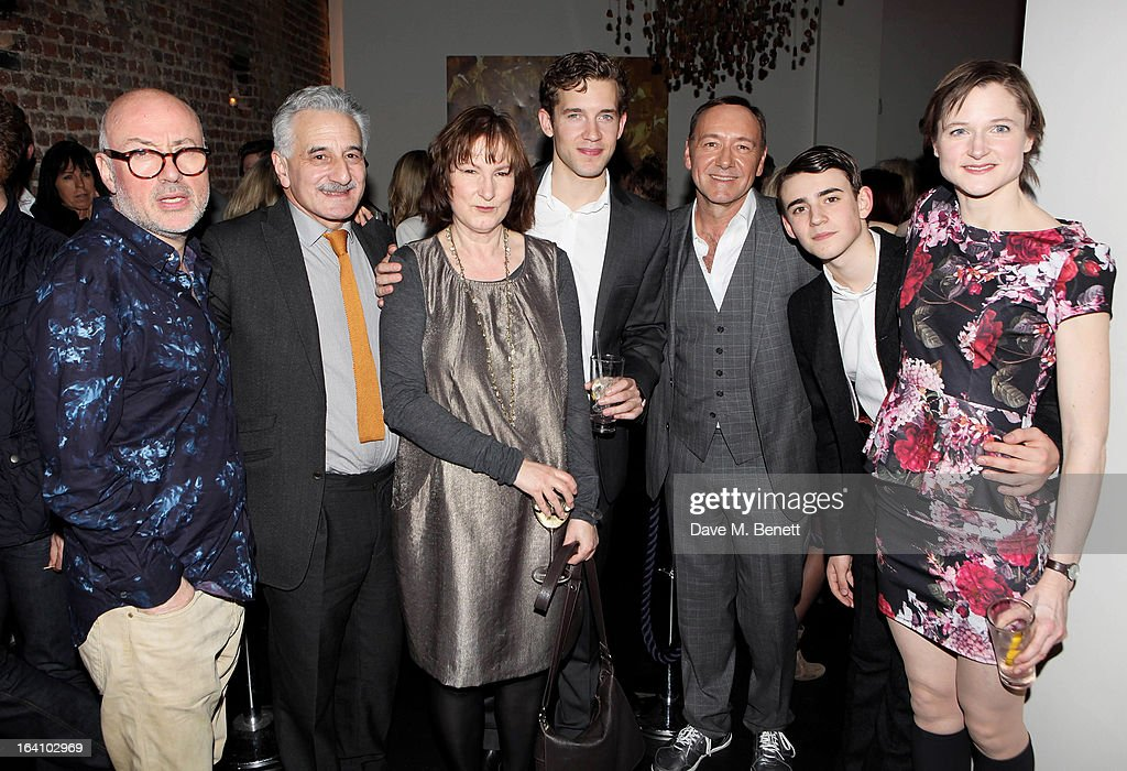Director Lindsay Posner, cast members <a gi-track='captionPersonalityLinkClicked' href=/galleries/search?phrase=Henry+Goodman&family=editorial&specificpeople=2133519 ng-click='$event.stopPropagation()'>Henry Goodman</a>, Deborah Findlay, Nick Hendrix, Artistic Director of the Old Vic <a gi-track='captionPersonalityLinkClicked' href=/galleries/search?phrase=Kevin+Spacey&family=editorial&specificpeople=202091 ng-click='$event.stopPropagation()'>Kevin Spacey</a>, Charlie Rowe and Naomi Frederick attend an after party following the press night performance of The Old Vic's 'The Winslow Boy' at Baltic Restaurant on March 19, 2013 in London, England.