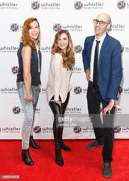 Director Lindsay Stewart actress Sara Canning and director Dane Clark arrive at the premiere screening of 'I Put A Hit On You' at Whistler Film...