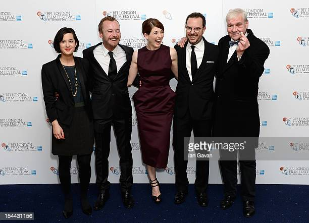 Director Lisa Barros D'Sa actors Richard Dormer Jodie Whittaker director Glenn Leyburn and actor Terri Hooley attend the 'Good Vibrations' premiere...