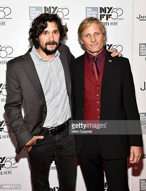 Director Lisandro Alonso and actor Viggo Mortensen attend the 'Jauja' premiere during the 52nd New York Film Festival at Alice Tully Hall on October...