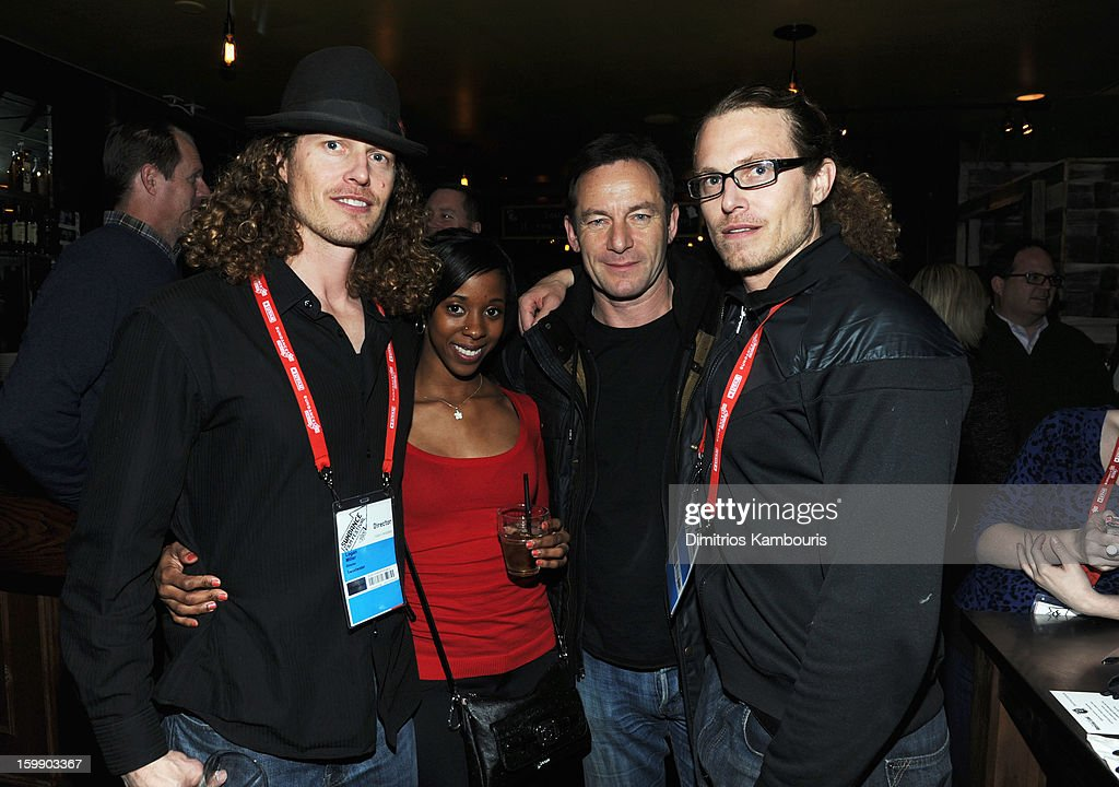 Director Logan Miller, Sola Williams, actor <a gi-track='captionPersonalityLinkClicked' href=/galleries/search?phrase=Jason+Isaacs&family=editorial&specificpeople=212740 ng-click='$event.stopPropagation()'>Jason Isaacs</a> and director Noah Miller attend the Sweetwater official cast and filmmakers party sponsored by True Religion on January 22, 2013 in Park City, Utah.
