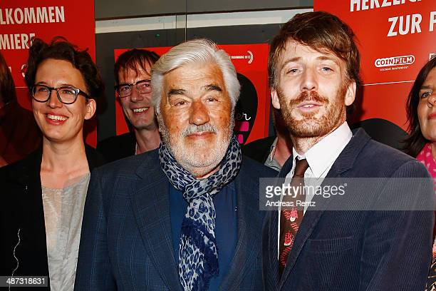 Director Lola Randl Mario Adorf and Bastian Trost attend the 'Die Erfindung der Liebe' Cologne Premiere at Odeon Lichtspieltheater on April 29 2014...