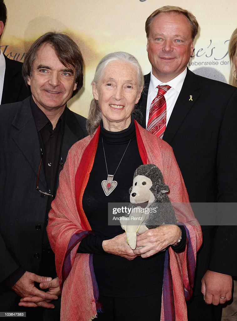 Director Lorenz Knauer, Jane Goodall and German Minister Dirk Niebel arrive for Jane's Journey (Die Lebensreise der Jane Goodall) Germany premiere at Astor Film Lounge on August 26, 2010 in Berlin, Germany.