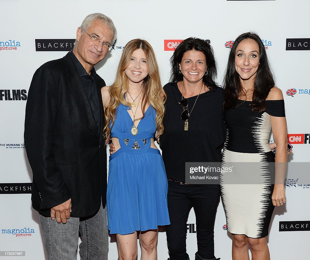 Director <a gi-track='captionPersonalityLinkClicked' href=/galleries/search?phrase=Louie+Psihoyos&family=editorial&specificpeople=243517 ng-click='$event.stopPropagation()'>Louie Psihoyos</a>, Simone Reyes, Melissa Carbone, and director <a gi-track='captionPersonalityLinkClicked' href=/galleries/search?phrase=Gabriela+Cowperthwaite&family=editorial&specificpeople=10127120 ng-click='$event.stopPropagation()'>Gabriela Cowperthwaite</a> arrive at Magnolia Pictures Los Angeles Premiere of 'Blackfish' at ArcLight Cinemas on July 10, 2013 in Hollywood, California.
