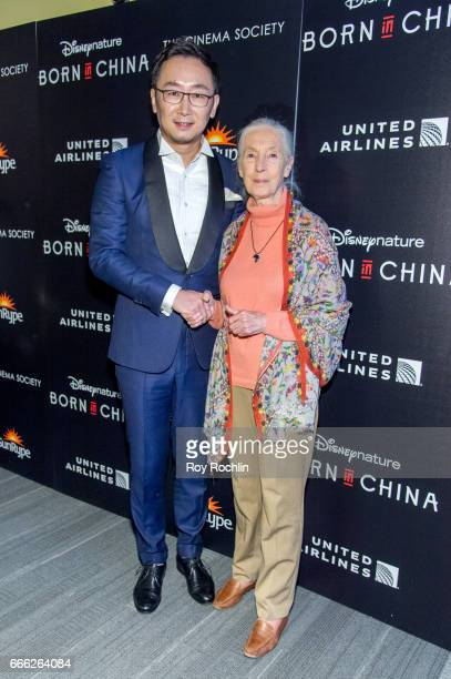Director Lu Chuan and Dr Jane Goodall attend Disneynature with the Cinema Society host the premiere of 'Born in China' at Landmark Sunshine Cinema on...