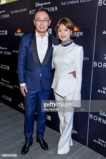Director Lu Chuan and Hu Die attend Disneynature with the Cinema Society host the premiere of 'Born in China' at Landmark Sunshine Cinema on April 8...