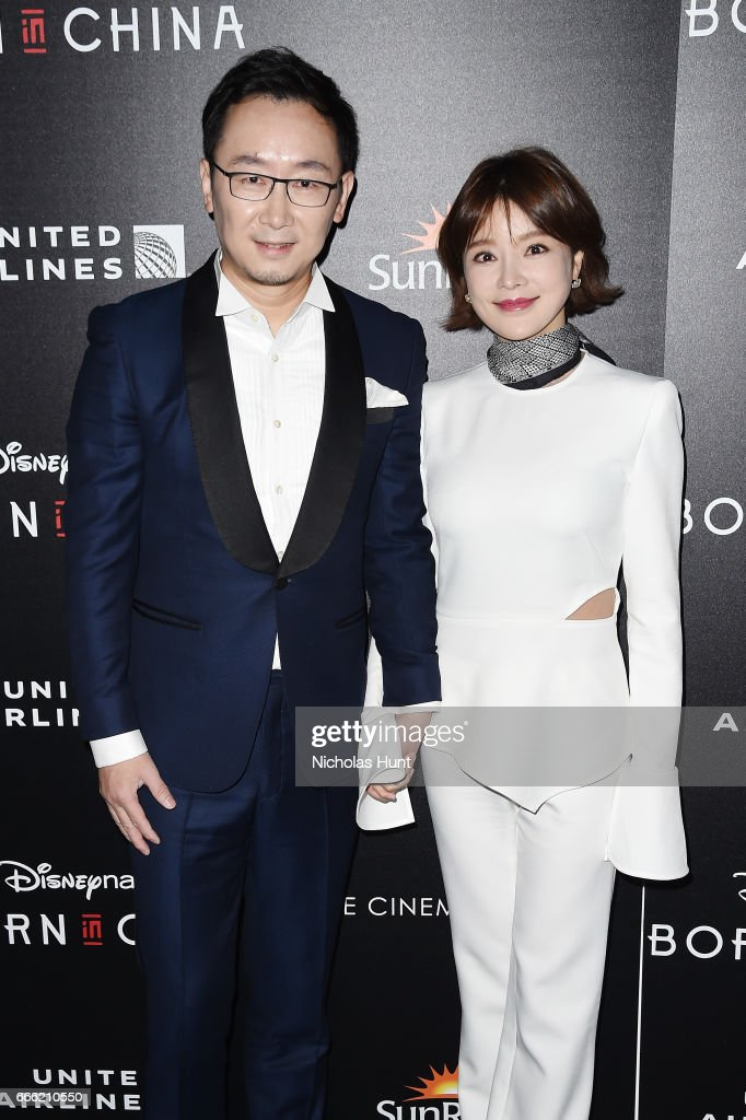 Director Lu Chuan and Hu Die attends the Disneynature With The Cinema Society Host The Premiere Of 'Born In China' at Landmark Sunshine Cinema on April 8, 2017 in New York City.