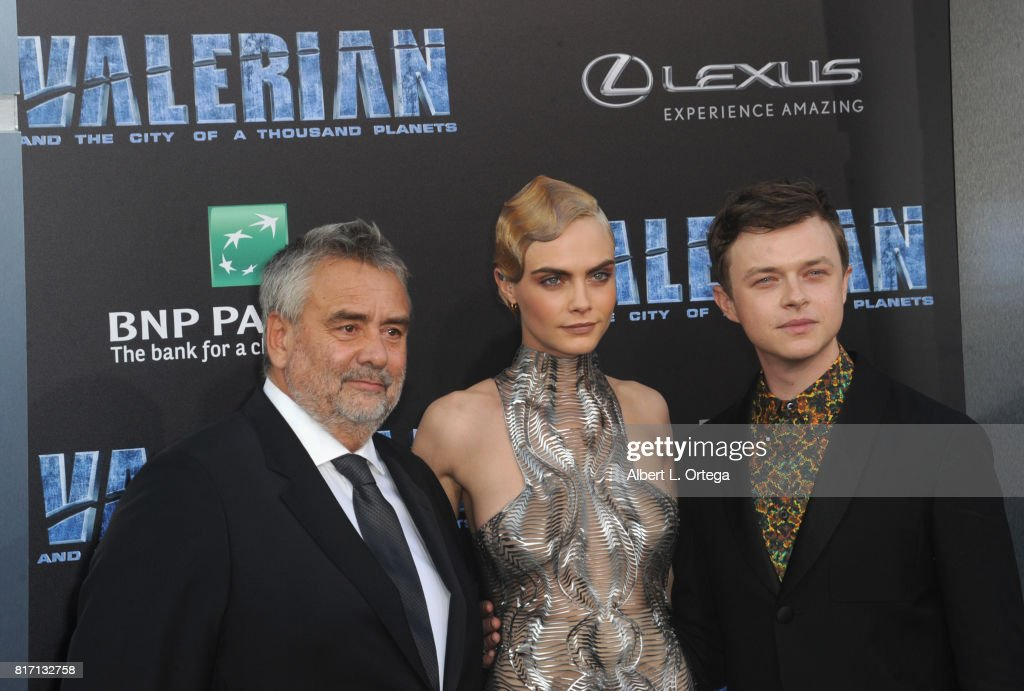 Director Luc Besson, actress Cara Delevingne and actor Dane DeHaan arrive for the Premiere Of EuropaCorp And STX Entertainment's 'Valerian And The City Of A Thousand Planets' held at TCL Chinese Theatre on July 17, 2017 in Hollywood, California.