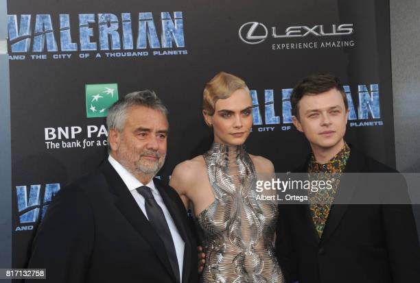 Director Luc Besson actress Cara Delevingne and actor Dane DeHaan arrive for the Premiere Of EuropaCorp And STX Entertainment's 'Valerian And The...