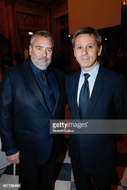 Director Luc Besson and President of Monnaie de Paris Christophe Beaux attend Luc Besson receives the First 'Gold Medal of the Academy of Arts and...