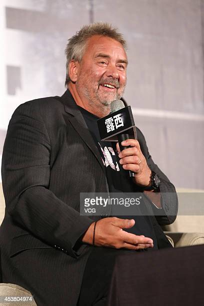 Director Luc Besson attends film 'Lucy' press conference at Regent Taipei on August 19 2014 in Taipei Taiwan