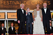 Director Luc Dardenne actress Cecile de France actor Thomas Doret and director JeanPierre Dardenne at the premiere of 'Boy with a Bike' during the...